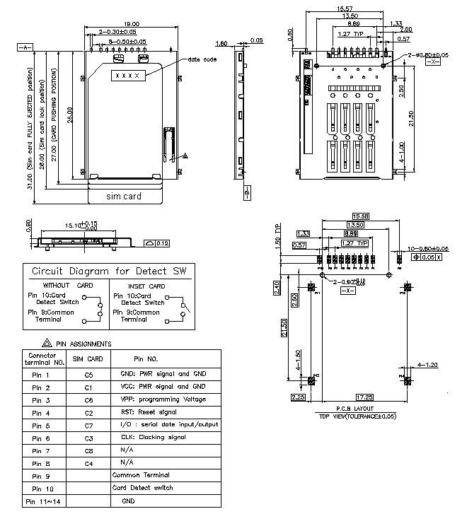 Sim Card Push Pushsim Card Series H180mm
